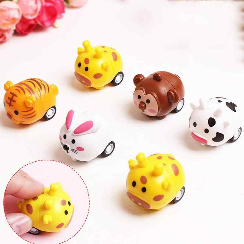 Newest Arrivals Cute Animal Shape Pull Back Car Tiger Monkey Pig Model Toy For Children Gift Home Decoration Cute Novelty Toy