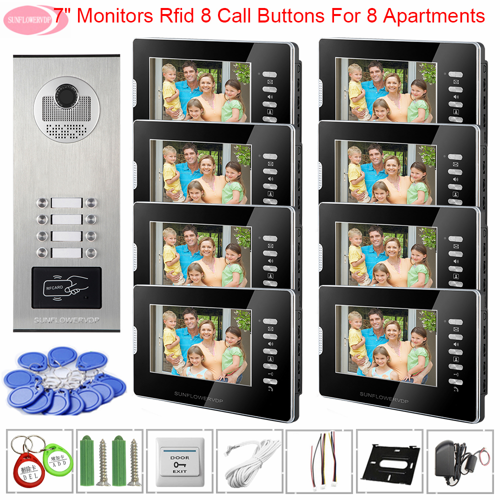 Videophone For Intercom Video System Unit For An Apartments Access Control White/Black Monitors 7