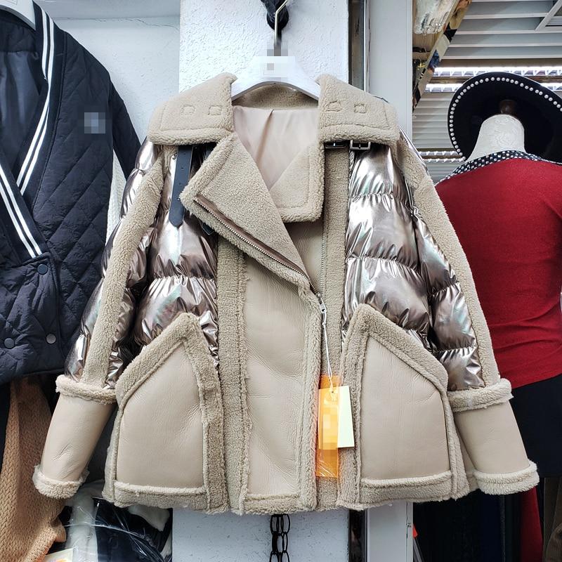 2020 Winter Jacket Women New Bright Surface Fur Leather Coat Womens Plush Stitching Leather Zipper Cotton Parka Padded Warm