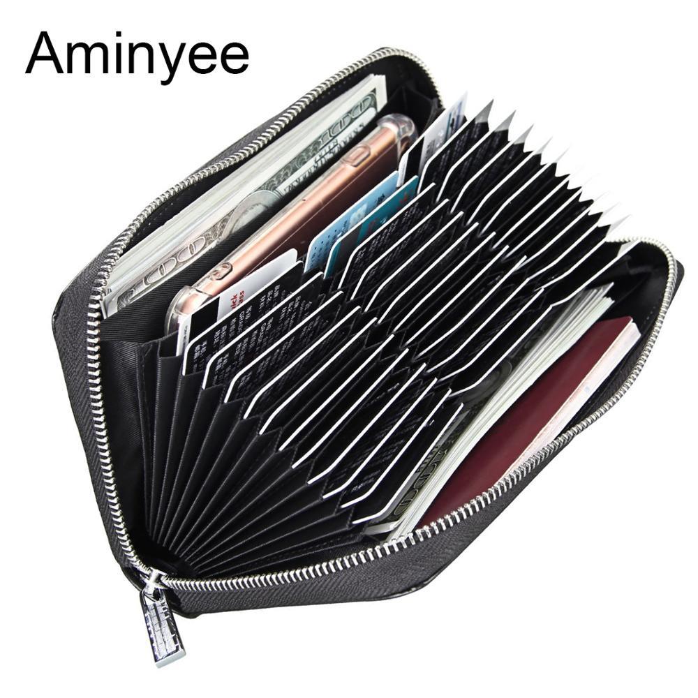 Aminyee мужской кошелек из натуральной кожи с блокировкой RFID, многофункциональный держатель для карт, сумка для мужчин с большой емкостью