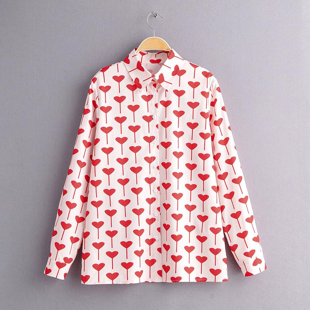 2020 New Women Sweet Hearts Print Casual Slim Blouse Office Lady Spring Long Sleeve Business Shirts Chic Blusas Tops LS6222