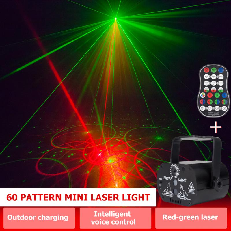 Mini Voice Control LED Laser Projector Light 60 Patterns USB Rechargeable Bar Club Party DJ Disco Stage Lighting