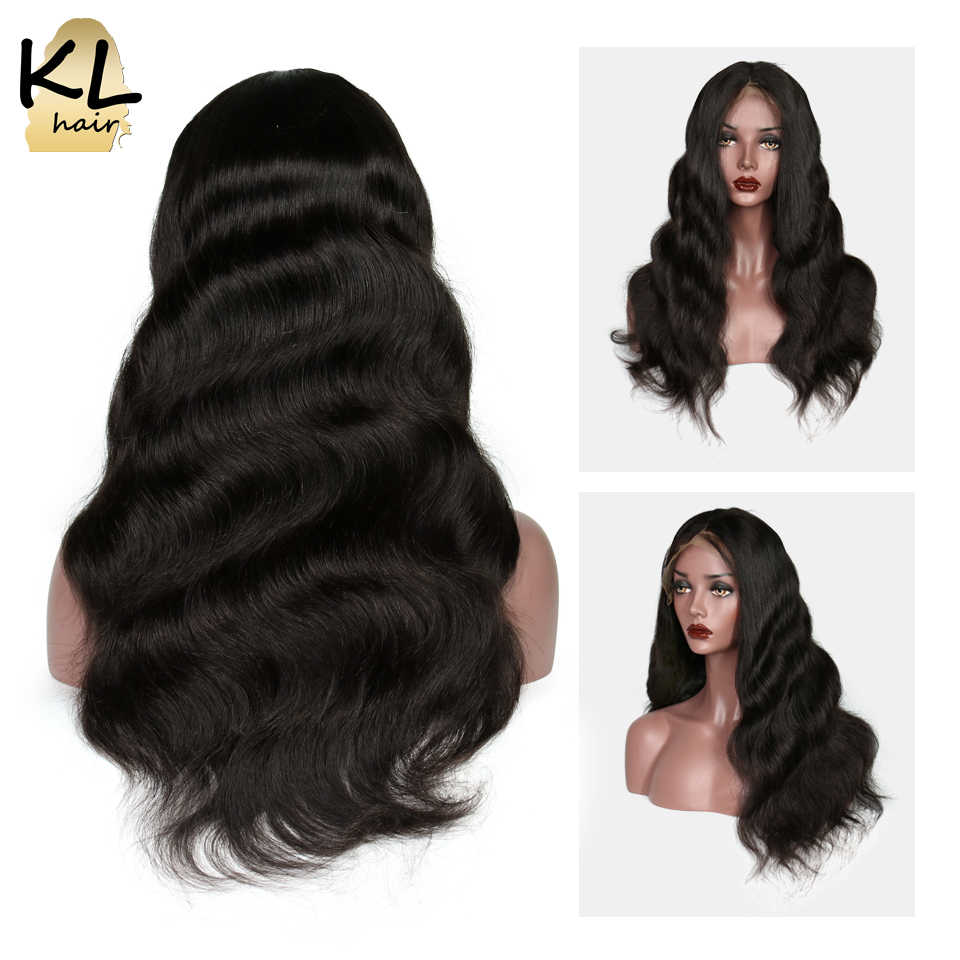 KL Wavy Full Lace Human Hair Wigs For Women 150 180 Density Brazilian Remy Hair Pre Plucked Glueless Lace Wigs With Baby Hair