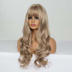 Image 3 - EASIHAIR uzun koyu sarı sentetik peruklar saç dalga peruk kadınlar için afrika amerikan isıya dayanıklı yüksek sıcaklık peruk Cosplay