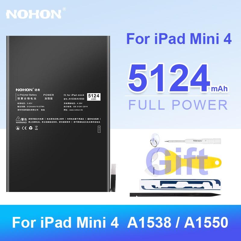 Nohon Tablet Batteries for iPad Mini 4 Battery Mini4 A1538 A1550 Replacement Lithum Polymer Bateria 5124mah Batarya