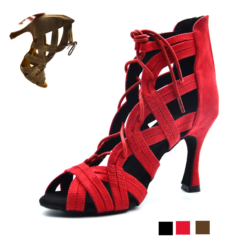 New Woman High Top Latin Dance Shoes Black Red Soft Sole Ballroom Salsa Dancing Shoes for Party for Girls Suede Dance Boots