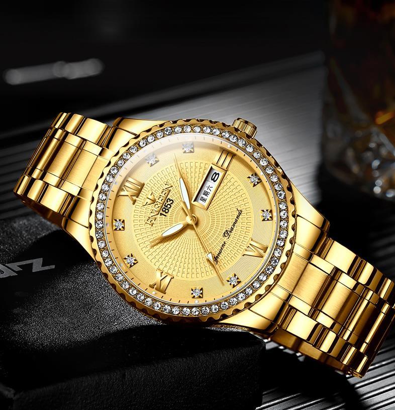 Luxury Men's Quartz Watch Brand Steel Calendar 30 Meters Rolexable Waterproof Men's Quartz Watch Gold Clock Relogio Masculino
