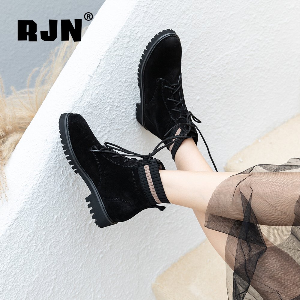 Promo RJN Fashion Ankle Boots Knitting Comfortable Cow Suede Round Toe Square Med Heel Lace-Up Shoes Women Sewing Ankle Boots RO45