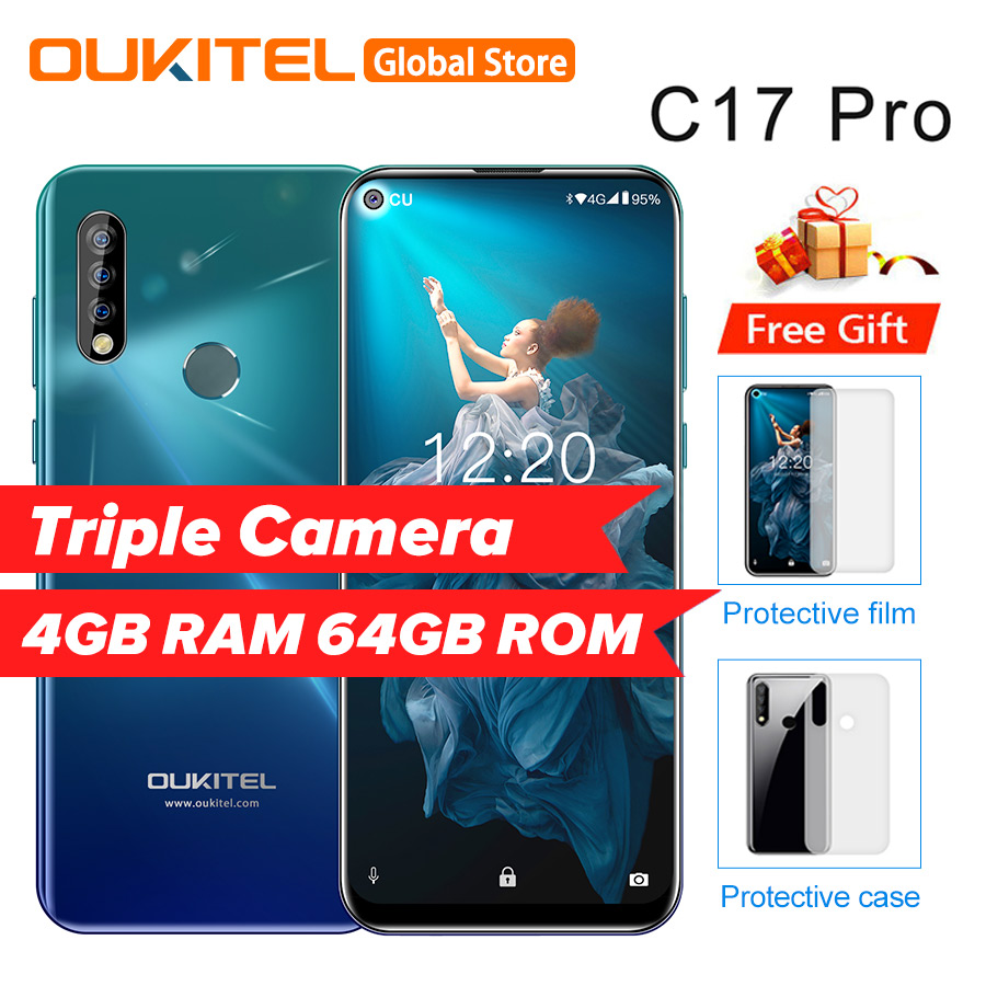 OUKITEL C17 Pro 6.35'' Android 9.0 19:9 MT6763 4GB 64GB Smartphone Face ID Octa Core 3900mAh Triple Camera 4G Mobile Phone