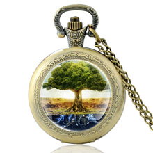 High Quality Vintage Tree of Life Glass Dome Quartz Pocket Watch Classic Men Women Bronze Necklace Pendant Gifts