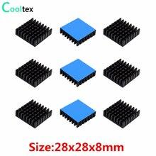 Алюминиевый радиатор-радиатор для электронного чипа IC VRM с теплопроводной лентой, 10 шт., 28x28x8 мм