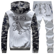 Mooie Dinosaurus Camo Mannen Jas Sets Grappige Thee-Rex Kawaii Print Hoodies 2019 Winter Mens Mooie Jassen Casual Fleece joggingbroek(China)