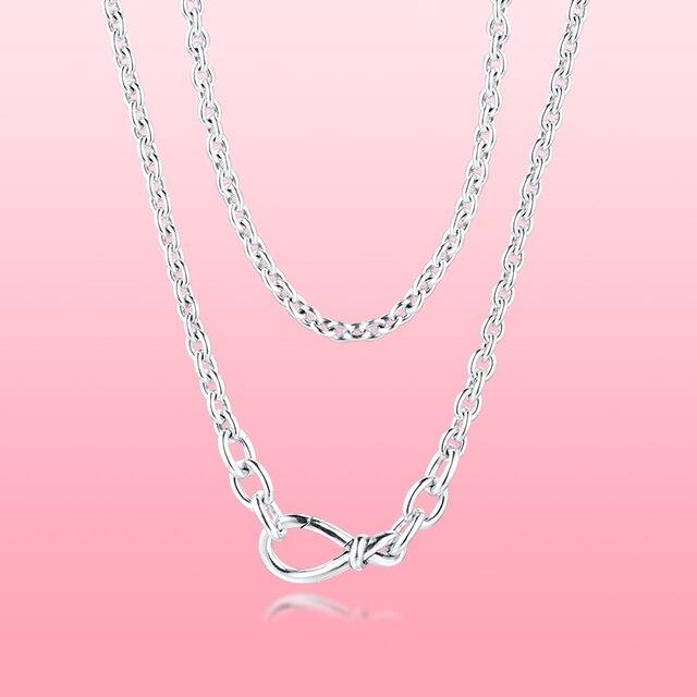 Collier de chaîne de noeud infini épais pour les filles collier ras du cou amour déclaration colliers Fine 925 en argent Sterling femmes colliers bijoux