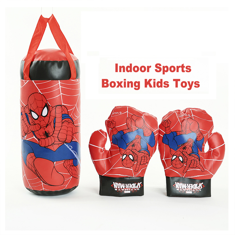 Kids Boxing Gloves Game Set Toy Sports Educational Games For Kids Decompression Anime Spider Man Outdoor Sports Boxing Boys Toys
