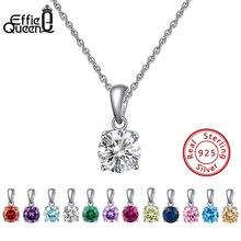 Effie queen, настоящее 925 пробы, серебряное ожерелье с кулоном, счастливый камень по месяцу рождения, разноцветные циркониевые серьги-гвоздики, Женские Ювелирные изделия BN118