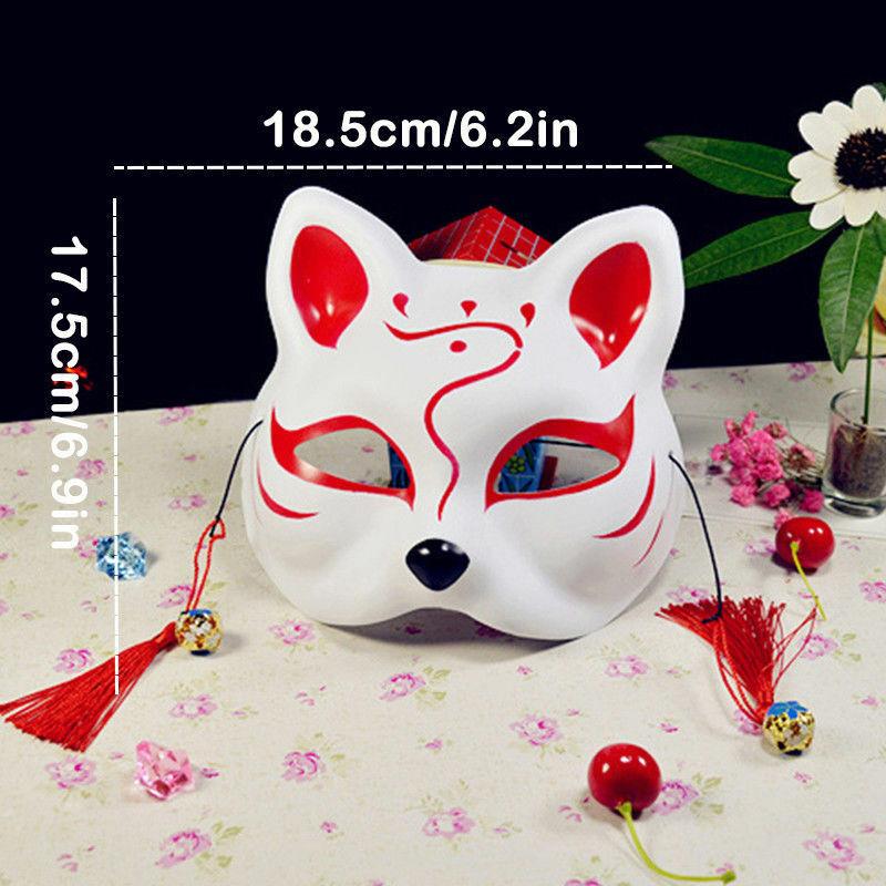 Half Face Fox Mask Japanese Anime Hand-painted Kitsune Halloween Cosplay