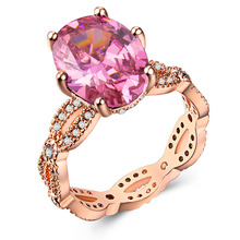 Silver 925 ring Diamond Rose golden jade crystal Pink emerald amethyst Valentines Day Olivine Costume jewelryB1058