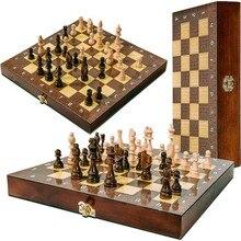 Набор шахматных установок, большой деревянный ящик высшего качества, складная игровая доска 30 см * 30 см, внутреннее хранилище, шашки из дуба, ...