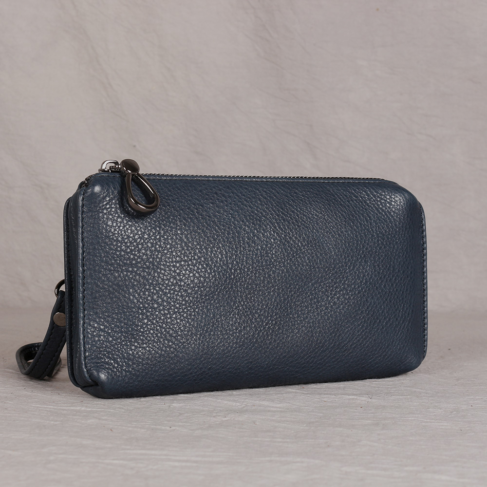 Casual Men Clutch Bag Genuine Leather Wallet Phone Mini Coin Purses Credit Card Holder Blue Business Small Money Bags