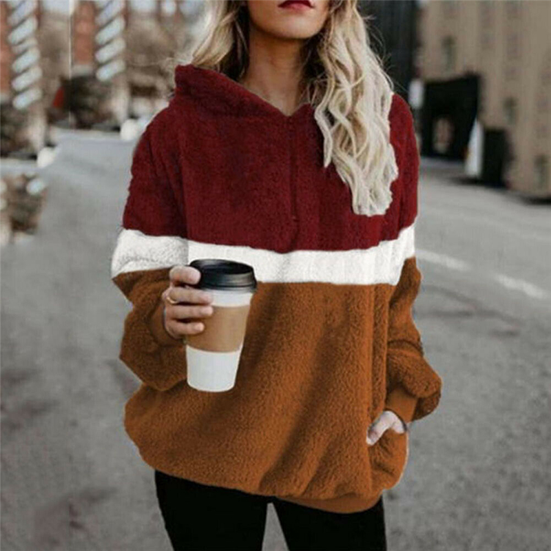2019 Winter Fluffy Sweater Sherpa Fleece Plaid Hooded Pullovers Cute Patchwork Warm Tops Women Fall Casual Fluffy Sweaters Coat