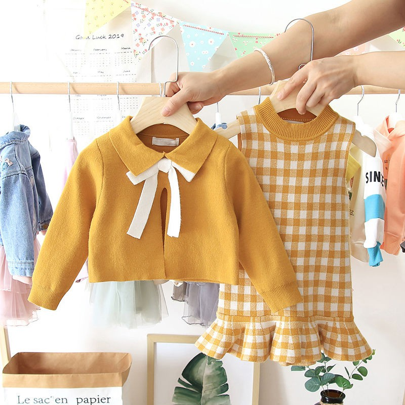 2020 Baby Girl Fashion Clothing Set Cute Bow Sweaters+plaid Dress,girls Infant Elegant Clothes Sets Children Party Birthday Wear 1