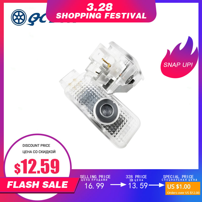 QCDIN 2pcs For AUDI E-Tron OEM Car LED Logo Door Light Projector Lamp For All AUDI Car Model