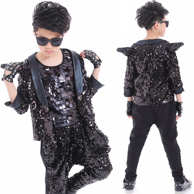Hip Hop Dance Costumes Kids Sequined Black Jacket Hiphop Pants Boys Jazz Street Dancing Clothes Child Modern Stage Wear DQS2790