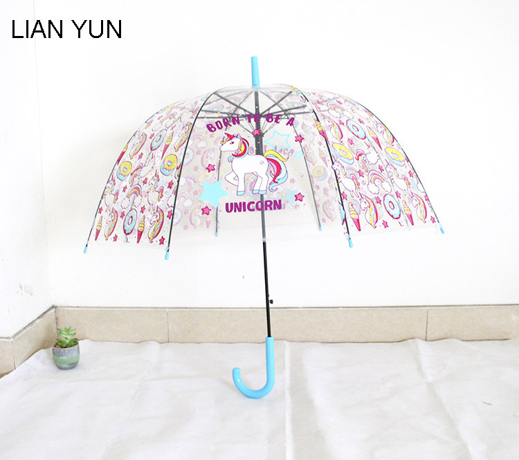 Los niños Paraguas unicornio transparente Paraguas Ombrello Sombrilla Paraguas Plegable Mujer Transparente Paraguas Paraplu