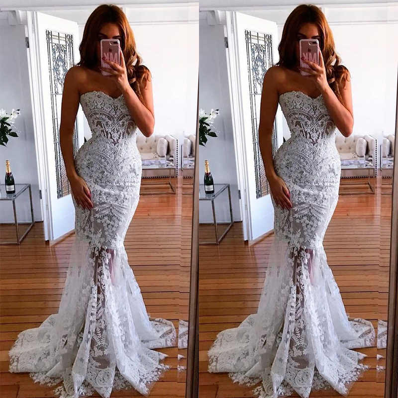 Backlakegirls White Lace Sexy Sweetheart Neck Strapless Mermaid Wedding Dress Elegant Sleeveless Sweep Floor Bride Gowns
