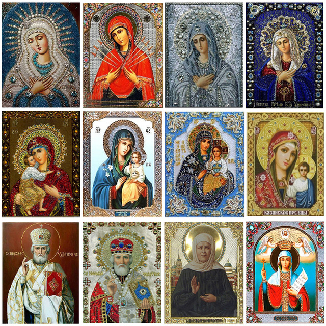 2019 New 5D Character Religious Round Diamond Painting Mother and Child Sticker Diamond diy Embroidery Home Decoration Mosaic