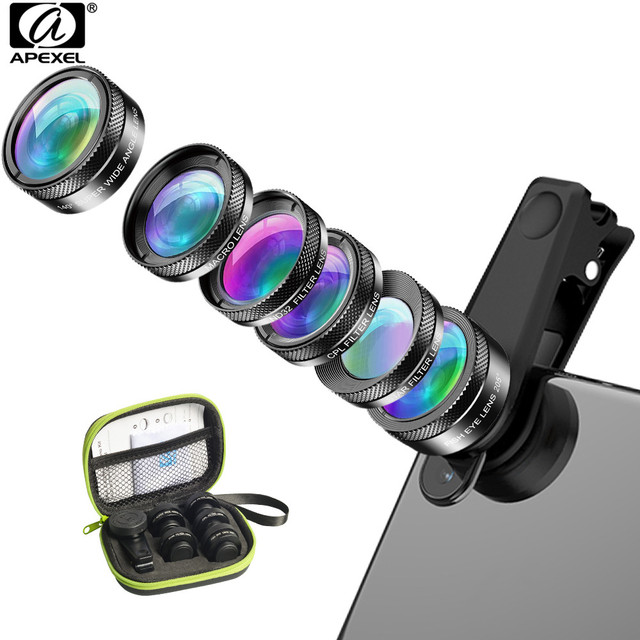 APEXEL New 6in1 Kit Camera Lens Photographer Mobile Phone Lenses Kit Macro Wide Angle Fish Eye CPL Filter For iphone Xiaomi mi9