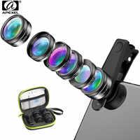 APEXEL yeni 6in1 kiti kamera Lens fotoğrafçı cep telefonu lensleri kiti makro geniş açı balık gözü CPL filtre için iphone Xiaomi mi9