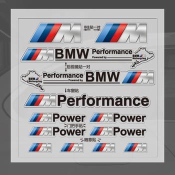 1set car window door handle mirror sticker M power performance badge decal For BMW M E39 E36 E60 E90 E46 F30 F10 F20 E53 E34 X1 etie car styling sports mind produced by m performance power sticker