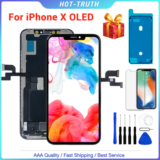 "1PC ZY New OLED Quality LCD Screen for iPhone X XS XR 10 5.8"" LCD OLED Display Digitizer Assembly Replacement 3D"