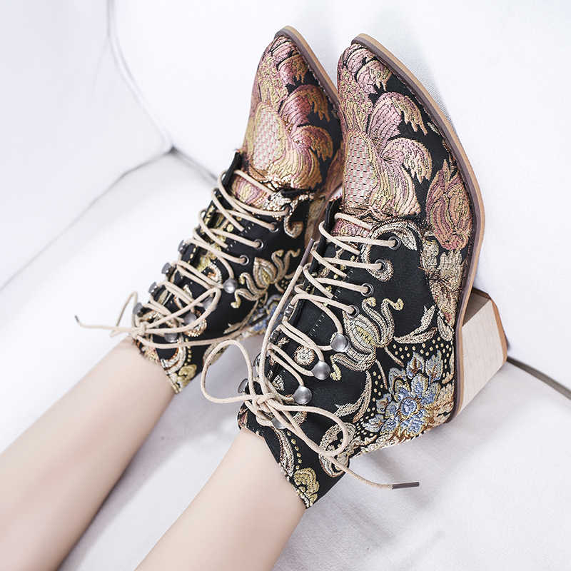 Botas Chelsea bordadas étnicas de invierno botas de tobillo con cordones de Punta puntiaguda zapatos de tacón alto cálidos Retro zapatos de mujer