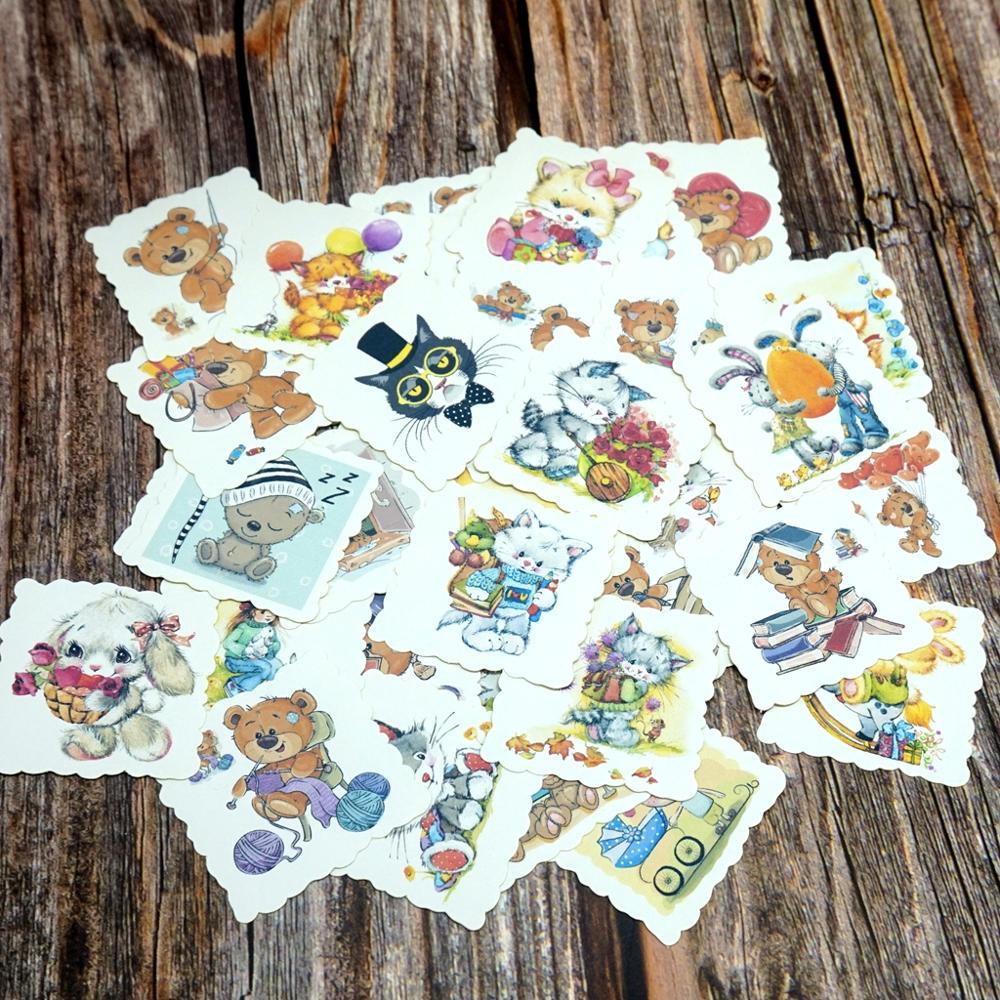 42PCS Cute Animal Stickers DIY Kawaii Cat Dog Bear Rabbit Stickers Cartoon Gift Stickers For Girls Kid Children Boys Student Toy