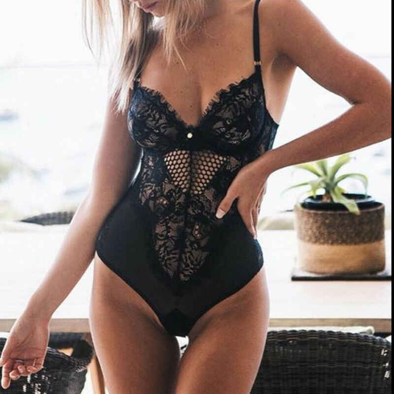 Sexy vrouwen Kant Bodysuit Lingerie Nachtkleding Ondergoed Playsuit Vrouwen Mouwloze Strap See Through Mesh Jumpsuit Bodysuits