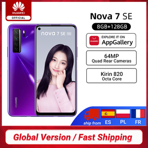 Глобальная версия Huawei Nova 7 SE 5G смартфон 8G 128G Kirin 820 64MP Quad Rear Cams 6,5 ''4000mAh мобильные телефоны 40W SuperCharge