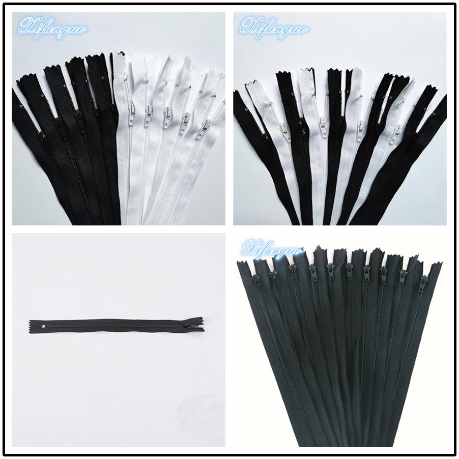 20 шт. черно-белые 3 # ( 10 см-100 см) закрытые нейлоновые застежки-молнии для шитья