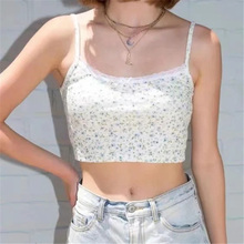 crop tops women floral print lace suspender for all basic tank