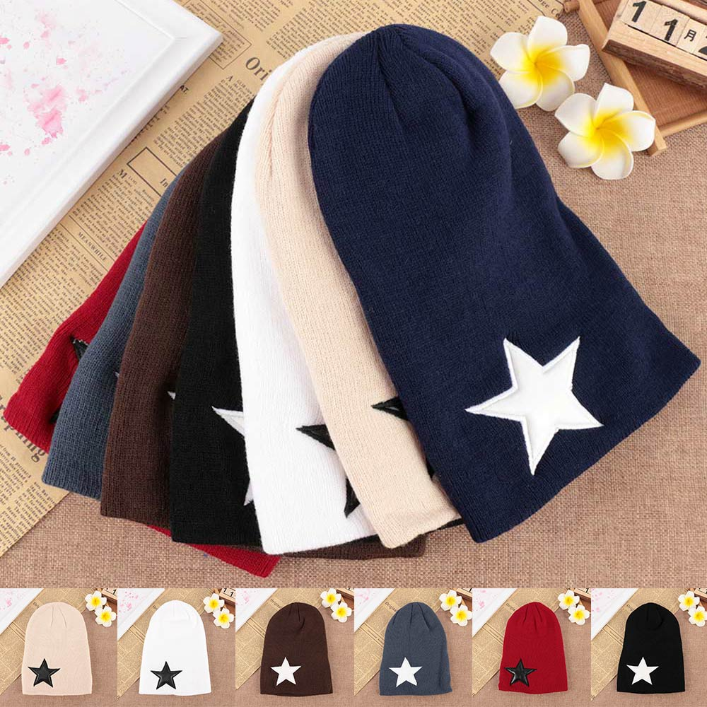 1 pc Unisex Pentacle Star Warm Skull Beanie Hip-Hop Knit Cap Ski Crochet Cuff Hat For Men Woman