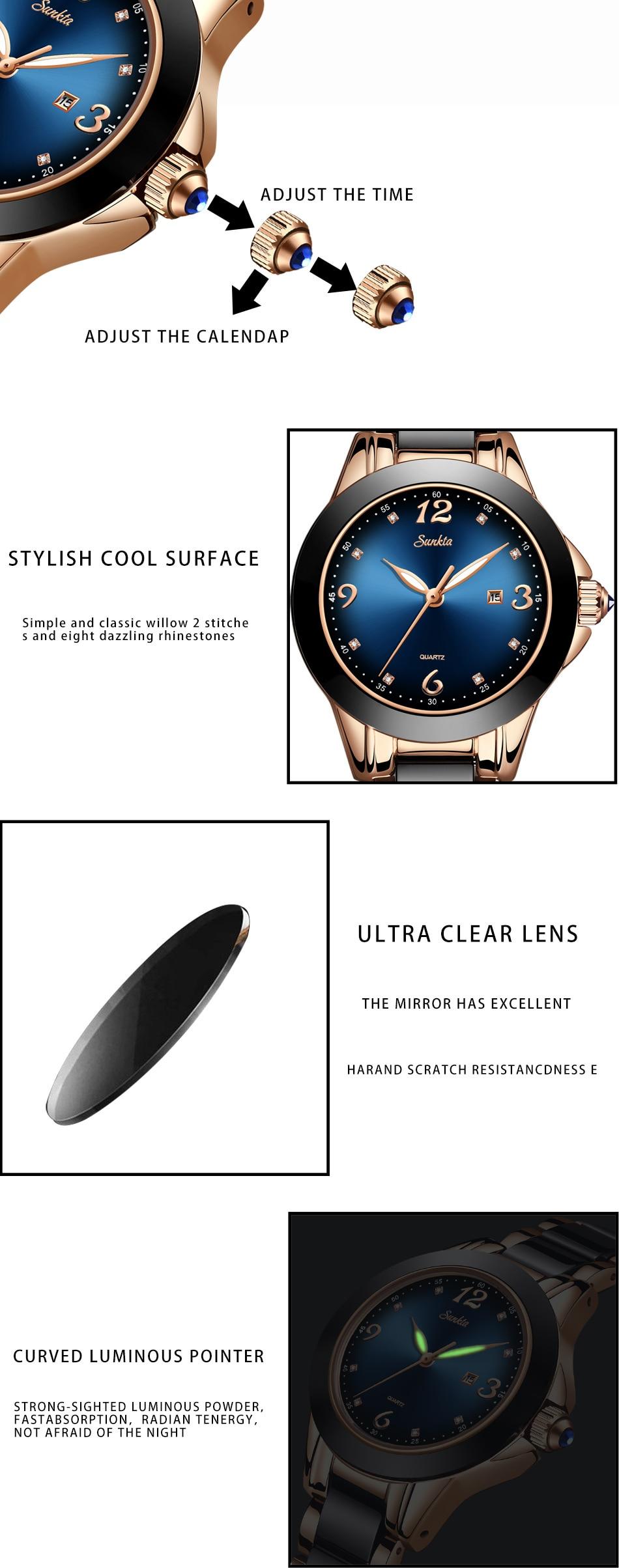 luxo cerâmica strass esporte relógio de quartzo