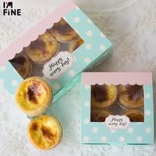 50 lage 크래프트 종이 컵케익 공예 상자 pvc 창, 선물 골 판지 종이 상자 케이크, 쿠키 포장 pvc 창 상자