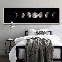 Affiche en toile de Phase de Lune, longue peinture d'art noir et blanc, décoration nordique, image murale abstraite pour salon