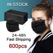 Atacado máscara protetora descartável adulto máscara preta azul mascarillas negras masque noir 100 200 unidades 50/100/200/500/600 peças