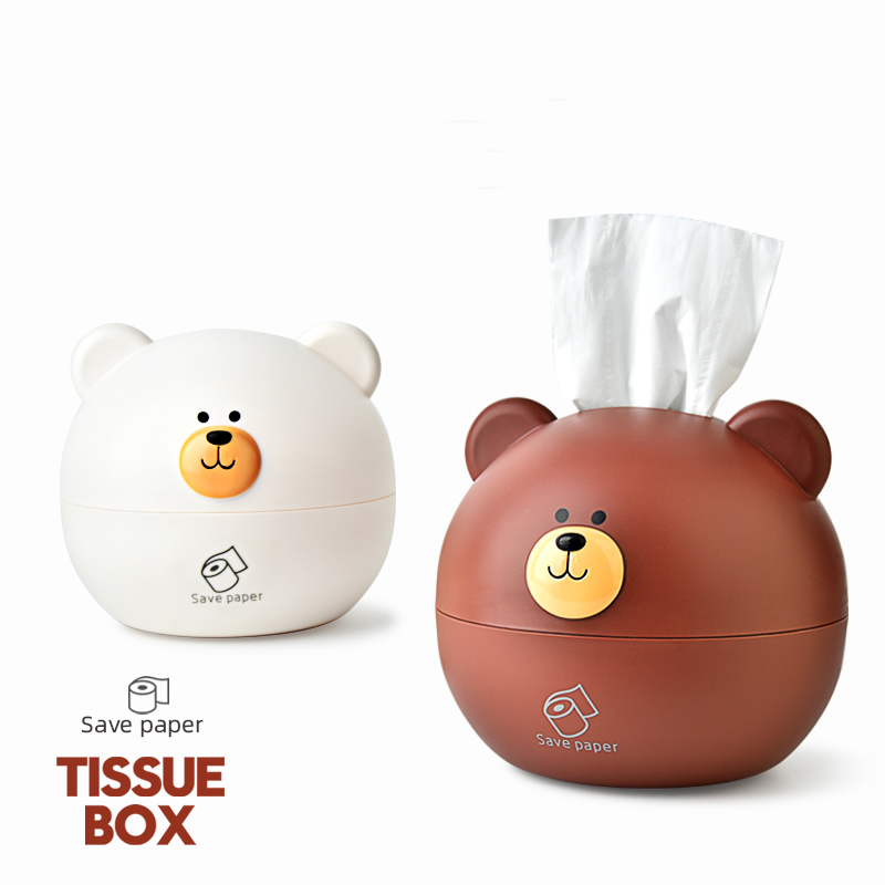 Cute bear tissue box Nordic Roll paper storage box Round Shaped Tissue Box Container Towel Napkin Tissue Holder(China)
