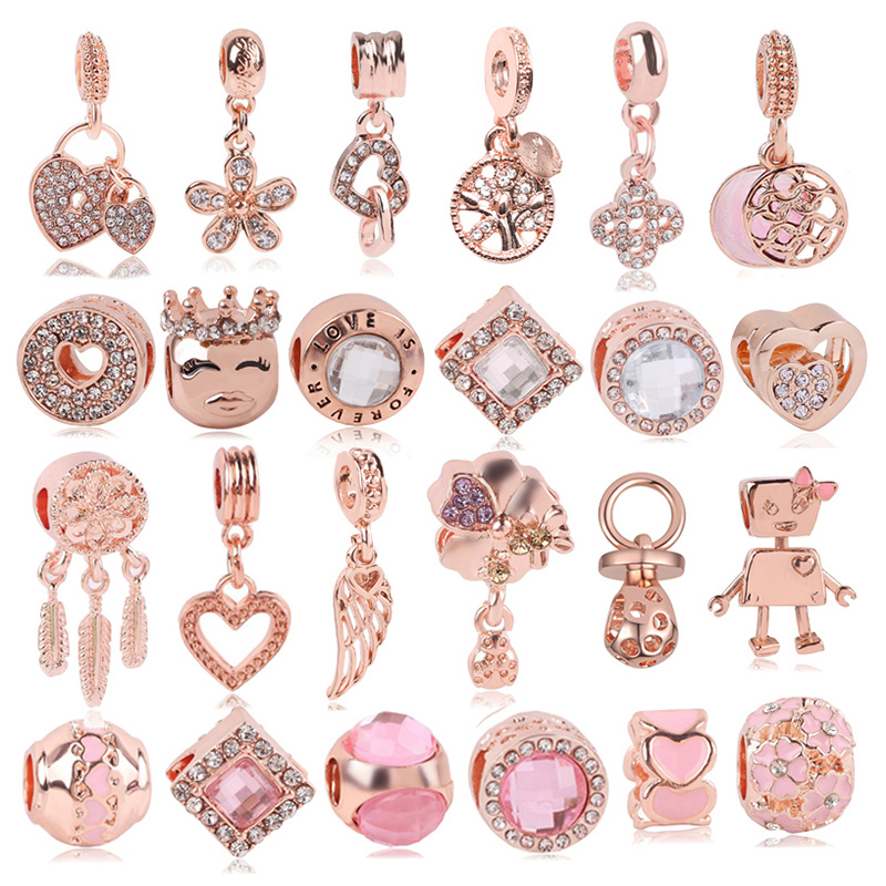 Boosbiy 2pc Rose Gold Lion Crown Love Heart Pendant Charm fit Brand Bracelets & Necklaces for Women Jewelry Making Accessories(China)