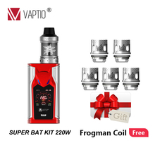 Gift Coils Vape kit Vaptio Super Bat 220W Mod 510 thread atomizer tank 2.0/5.0ml fit 18650 Battery 1.3inch Color TFT display цена и фото