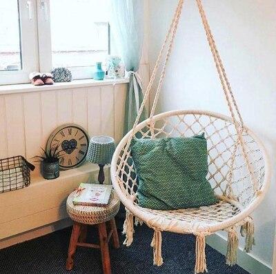 Безопасное бежевое подвесное кресло гамак, качающаяся веревка, уличное, внутреннее, для бара, сада, кресло для ленивых, складное, для сада, без палочек, Прямая поставка