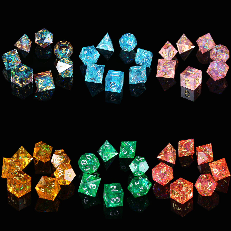 Jeu de dés RPG, mdn 7 pièces miroir fait main jeu de dés polyèdre pour D & D donjons et Dragons jeux de Table jeu de rôle roulant